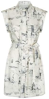 Burberry Scribble Print Silk Dress