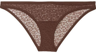 YASMINE ESLAMI Lily Stretch-tulle Briefs - Chocolate