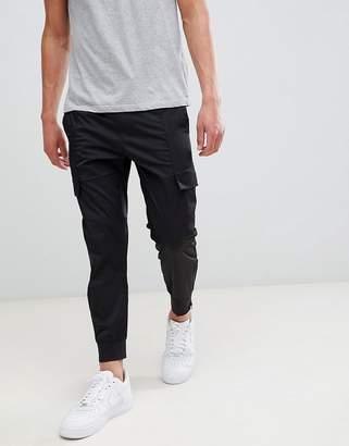 Religion drop crotch cargo PANTS in black