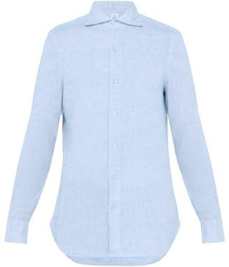 Finamore 1925 - Gaeta Spread Collar Linen Shirt - Mens - Blue