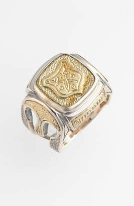 Konstantino 'Byzantium' Two-Tone Rectangle Shield Ring