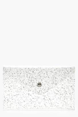 boohoo Chunky Glitter Clear Envelope Clutch