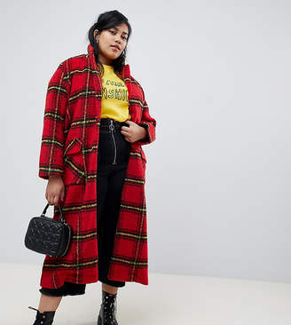 Glamorous Curve longline coat in bright check