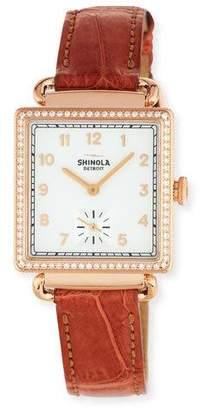 Shinola The Cass 28mm Alligator Strap Watch with Diamonds, Terra Cotta