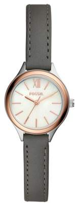 Fossil Suitor Mini Three-Hand Gray Leather Watch Jewelry