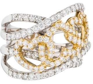 Ring 18K Two-Tone Diamond Heart Band