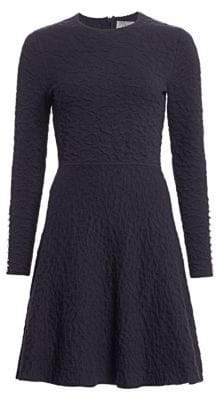 Lela Rose Textured Knit Fit-&-Flare Dress