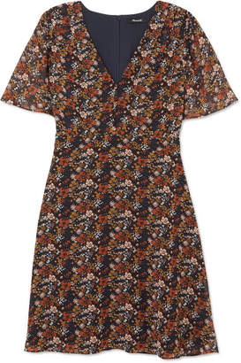 Madewell Floral-print Chiffon Mini Dress - Brown