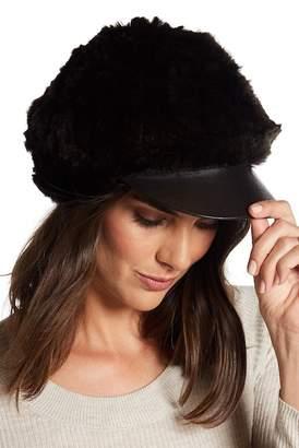 Surell Genuine Rabbit Fur Cabbie Hat