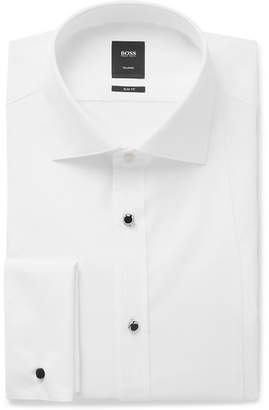 HUGO BOSS White T-Calvin Slim-Fit Bib-Front Cotton Tuxedo Shirt