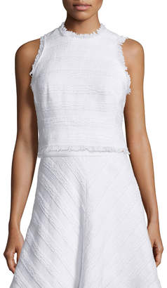 Rebecca Taylor Sleeveless Fringe-Trim Crop Top, Sea Salt