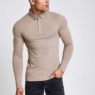 River Island Light brown muscle fit long sleeve polo shirt