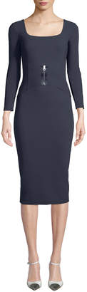 Chiara Boni Humette Midi Dress w/ Front Zip