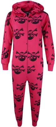 a2z4kids Kids Girls Boys Skull & Cross Bone Onesie All In One Summer Jumpsuit PJ's 5-13 Y