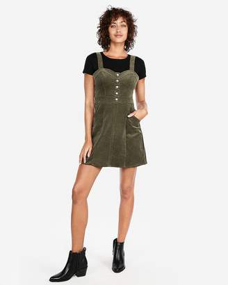Express Corduroy Bustier Fit And Flare Dress