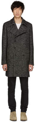 Saint Laurent Black and White Three-Button Coat
