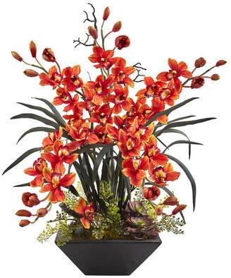 Nearly Natural Cymbidium Orchid Arrangement in Vase Flower