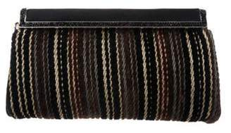 Judith Leiber Chenille Striped Clutch Black Chenille Striped Clutch