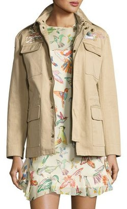 RED Valentino Embroidered Military Jacket, Sand $950 thestylecure.com