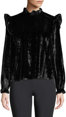 Opening Ceremony Velvet Twill Ruffle Long-Sleeve Blouse