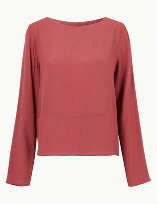 Marks and Spencer Round Neck Long Sleeve Shell Top