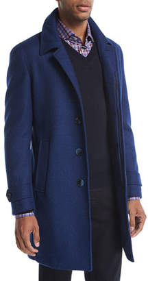 Neiman Marcus Wool Single-Breasted Top Coat, Blue