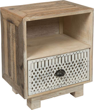Lifestyle Traders One Drawer Vintage Distressed Wood And Iron Bedside Table