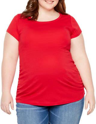 PLANET MOTHERHOOD Planet Motherhood Short Sleeve Crew Neck T-Shirt - Plus Maternity