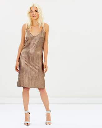 MinkPink Metallic Crinkle Slip Dress