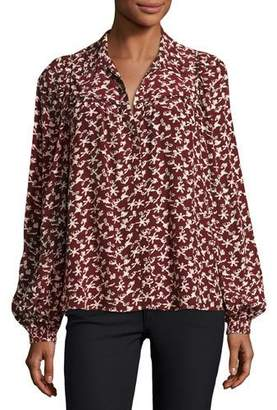 BA&SH Collin Button-Front Printed Long-Sleeve Top