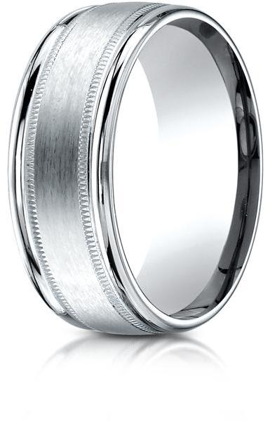 Benchmark Palladium 8mm Comfort-Fit Satin-Finished Wedding Band with Milgrain Carved Design