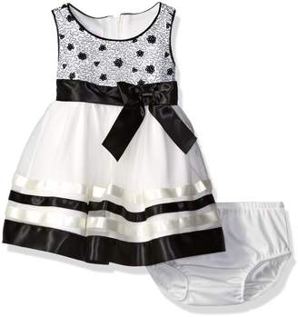 Bonnie Baby Baby Sequin Bodice Dress with Ribbon Trimmed Skirt