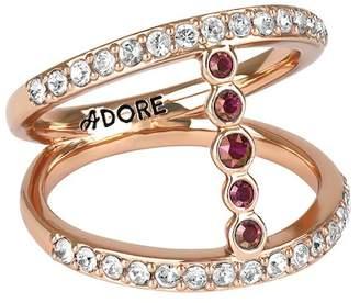 Adore Rose Gold Plated Pave & Bezel Set Swarovski Crystal Accent Split Shank Ring - Size 6