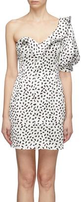 Self-Portrait Frill puff sleeve graphic print satin one-shoulder dress