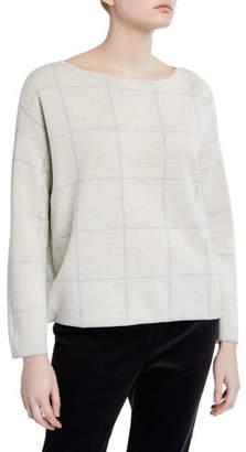 Eileen Fisher Windowpane Merino Wool Bateau-Neck Sweater