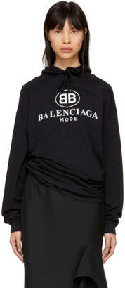 Balenciaga Black Open Back BB Mode Logo Hoodie