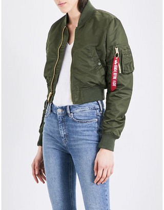 Alpha Industries MA-1 cropped shell bomber jacket $147 thestylecure.com