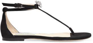 Jimmy Choo 10mm Afia Crystals Suede Sandals