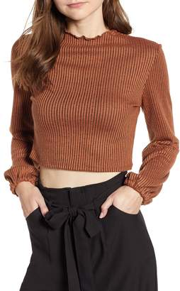 Mimichica Mimi Chica Puff Sleeve Ribbed Crop Top