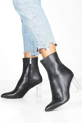 boohoo Clear Block Heel Pointed Toe Shoe Boots