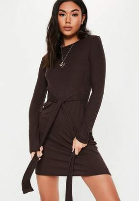 Missguided Chocolate Tie Waist Long Sleeve Tshirt Dress