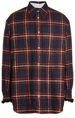 Calvin Klein Alpaca Plaid Shirt with Shearling Cuffs