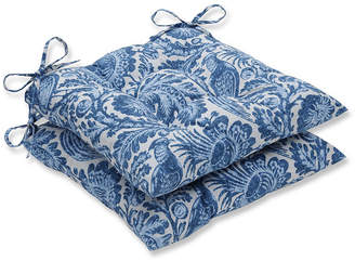 Tucker PILLOW PERFECT Pillow Perfect Set of 2 Resist Azure Wrought Iron Patio Seat Cushion