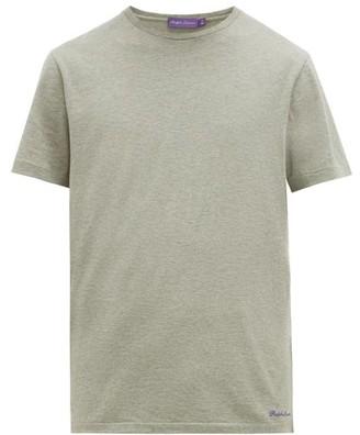 Ralph Lauren Purple Label Logo Embroidered Cotton Lisle T Shirt - Mens - Grey