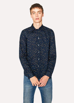 Paul Smith Men's Tailored-Fit Navy Cotton 'Mini Sharks' Print Shirt