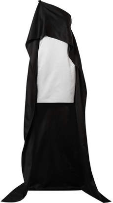 Narciso Rodriguez Asymmetric Cape-effect Silk-charmeuse Dress - Black