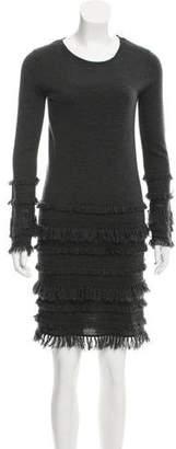 Trina Turk Fringe-Trimmed Wool Dress