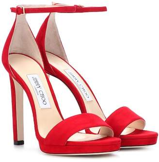 37532a86b356 Jimmy Choo Red Suede Women s Sandals - ShopStyle