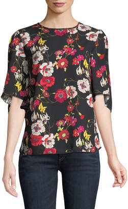 Chelsea & Theodore 1/2-Sleeve Floral-Crepe Blouse