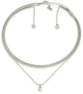 A.B.S. By Allen Schwartz All Choked Up Take 2 Silver Layered Choker Necklace